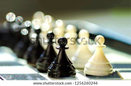 Chess Board with chess pieces. Chess pieces on chess board.