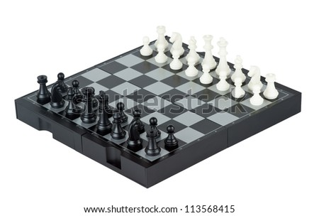 Chess board with chess pieces on white background