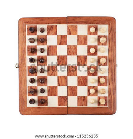 chess board with figures isolated over white background