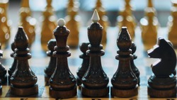 Chess board with focus on black chess pieces and blurred background. Brown chess pieces selective focus, soft light bokeh. Chess pieces from black pieces side in brown and beige colors.