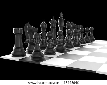 Chess board with starting positions aligned chess pieces, isolated on black background.
