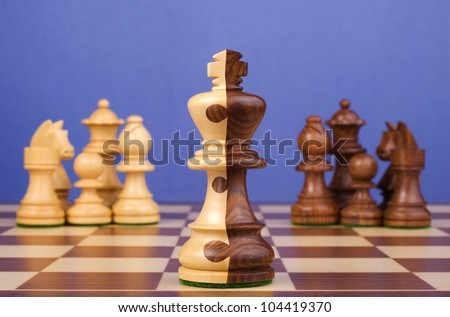 Chess Board with teams of black and white pieces, king is half and half, with jigsaw pattern dividing the two colours. Concepts of corporate merger, joining together, teams working together.