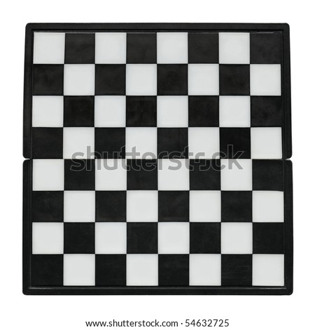 Chess board without chess isolated over white