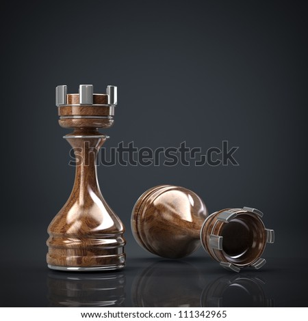 Chess Castle wooden High resolution. 3D image