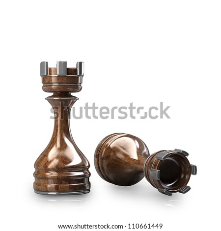 Chess Castle wooden isolated on white background High resolution. 3D image