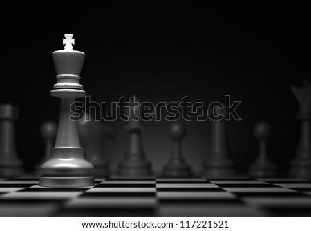 Stock Photo Chess concept with king (Computer generated image)