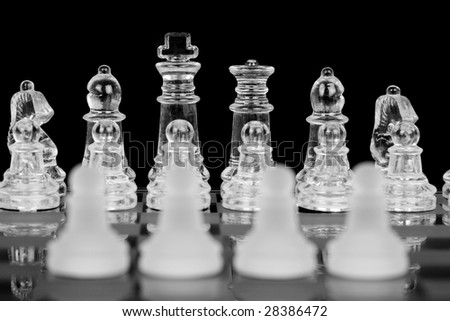 Chess, Four Pawns, Focus On Back, Black & White