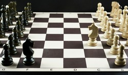 Chess game, battle of knights, focus on white knight