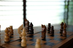 chess game. business plan & analysis for success. risk and strategy concept