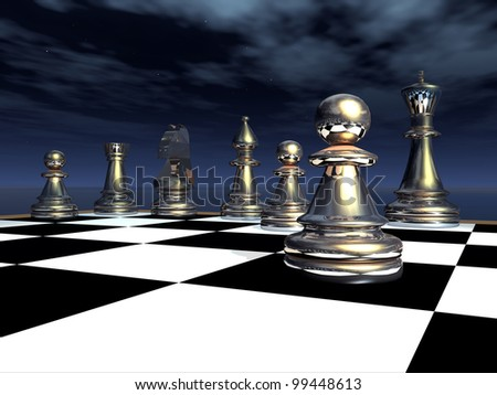 Chess Game Computer generated 3D illustration