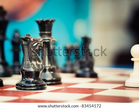 Chess game figure on board