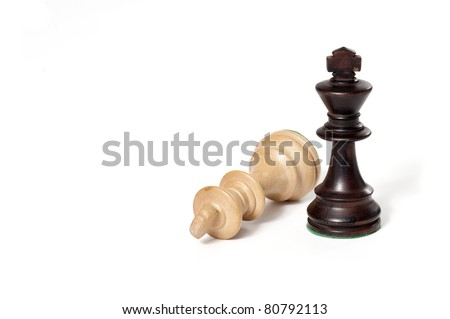 Chess game. White and black king challenging for victory. Isolated on white background.