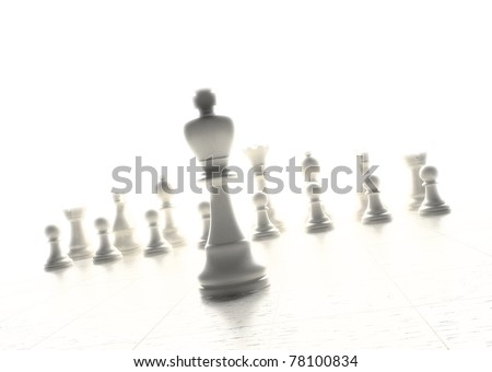 Chess game with the king figure in the front
