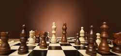 Chess Game. Wooden Chess Pieces on Board over Brown Studio Background. Strategy Planning Concept. Black and White King in Opposition