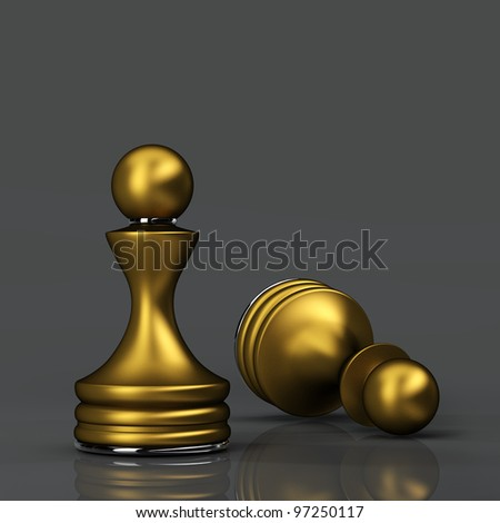 Chess gold Pawn. High resolution. 3D image