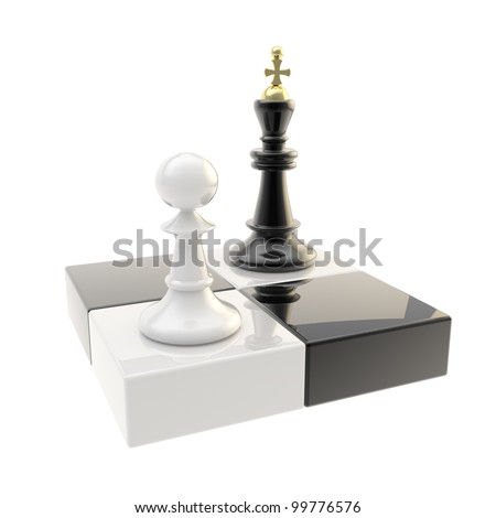 Chess icon glossy illustration of attacking pawn and king isolated on symbolic chessboard