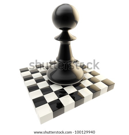 Chess icon illustration of isolated black glossy pawn on a chessboard