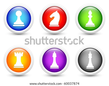 Chess Icon on Simple Round Button Collection Original Illustration - stock photo