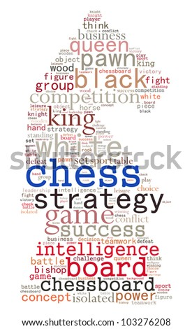 Chess info-text graphics and arrangement concept (word cloud)