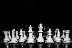Chess is photographed on a chessboard.  Table games.  Strategy games.  Creative minimal concept.  Game of chess.  Strategy, management or leadership concept.  Business success concept.