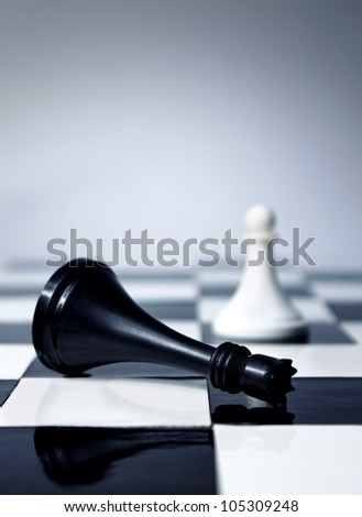 Chess king defeated by white pawn