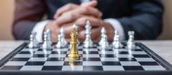 chess King figure against chessboard opponent with businessman manager background. Strategy, Success, management, business planning, tactic, politic, thinking, vision and leadership concept