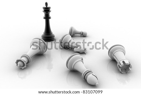Chess king standing game over