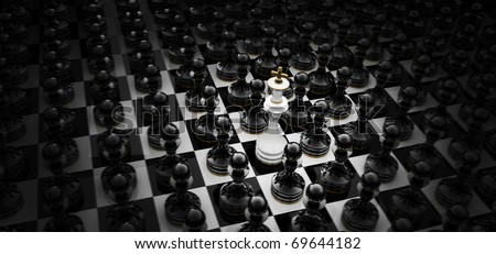 Chess king standing - game over  3D render