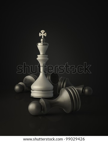 Chess king standing isolated on black background High resolution 3D - stock photo