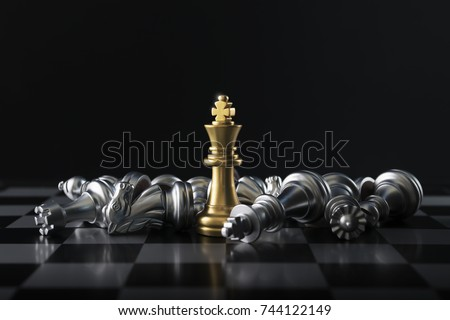 Chess (King wins the game) on black background. Success, business strategy, victory, win, winner, intellect, tactics, defeat, beat, knock, checkmate, leader or leadership concept. #744122149