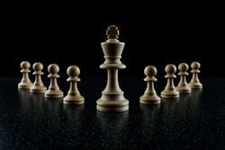 chess king with a retinue of pawns on a black background. the concept of a leader and his followers.