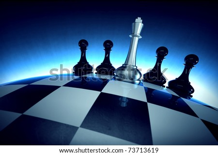 Chess king with four pawns on spherical checker surface