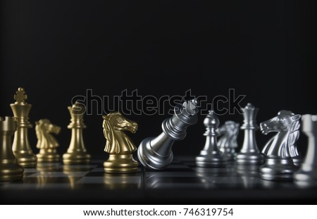 Chess (knight or horse wins the game) on black background. Success, business strategy, tactics, win, victory, winner, intellect, defeat, beat, knock, checkmate, brave, fearless or think big concept. #746319754