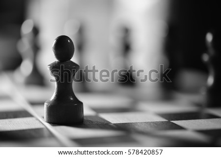 Chess on a chess board in black and white