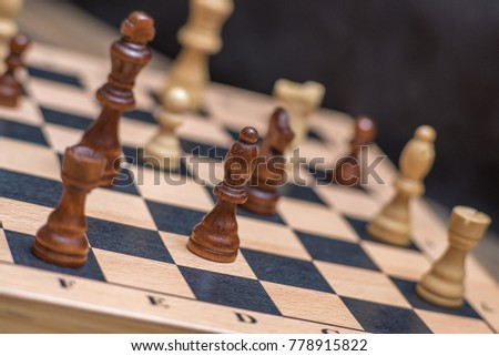 Chess on chessboard close up