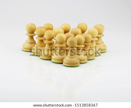 Chess pawn triangle formation that illustrate leadership, unity and teamwork concept #1513858367