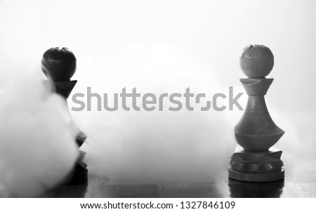 chess piece pawn piece on board on white background