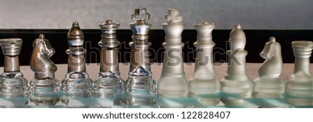 Chess Pieces / Chess set on Chess Board - long, thin, panorama / panoramic