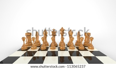 Chess pieces 3D illustration