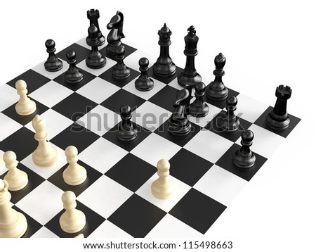 Chess pieces in a war  on chess board, isolated on white background.