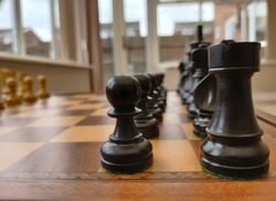 Chess pieces lined up in starting positions with a view from the side.