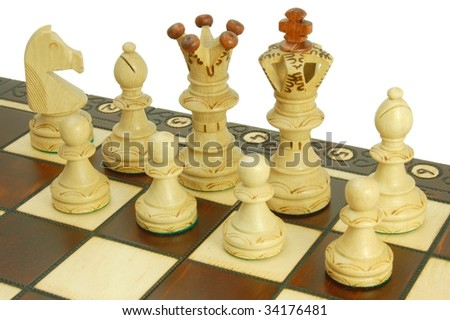 chess pieces on board - white background - symbol of strategy #34176481