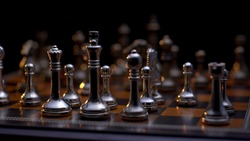 Chess pieces on the board close-up.