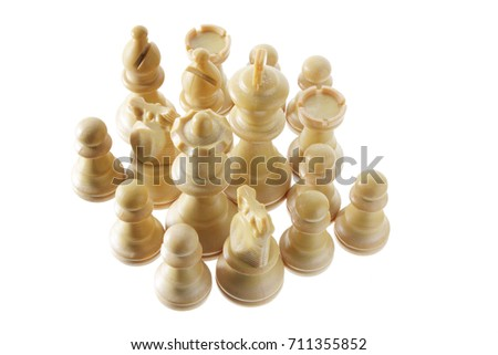 Chess Pieces on White Background #711355852