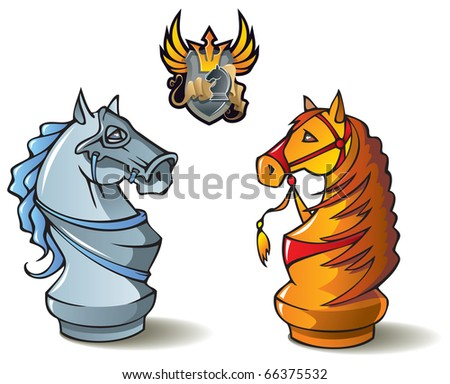 Chess pieces series, black and white knights, Crusaders vs. Saracens, including bonus â??Chess Battleâ?� heraldic emblem, raster from vector illustration