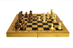 Chess pieces stand on a wooden board close-up isolated on a white background.