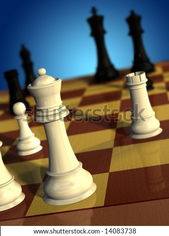 Chess pieces. White queen checking black king. Digital illustration. - stock photo
