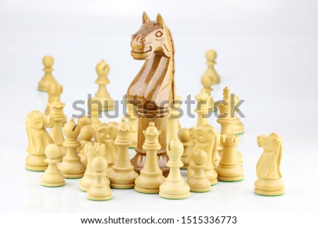 Chess pieces with an outstanding large knight in-focus leading the group that illustrate leadership, unity and teamwork concept #1515336773