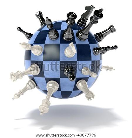 chess planet - stock photo