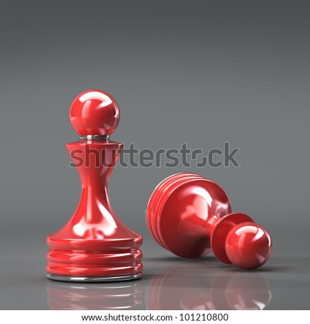 Chess red pawn High resolution. 3D image
